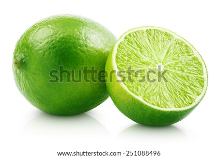 Fresh lime citrus fruit and slice isolated on white background with clipping path - stock photo