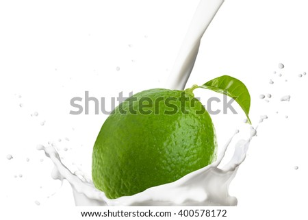 Fresh Lime Falling On Milk Splash - stock photo