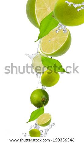 fresh lime in water splash  - stock photo