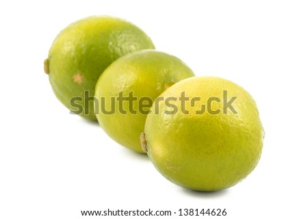 Fresh lime on a white background close-up - stock photo