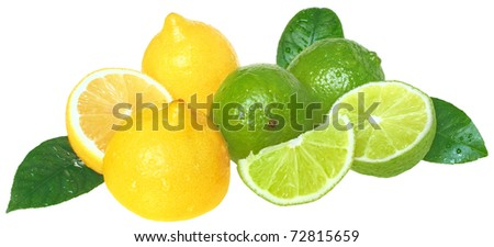 Fresh limes and lemons on a white background. - stock photo