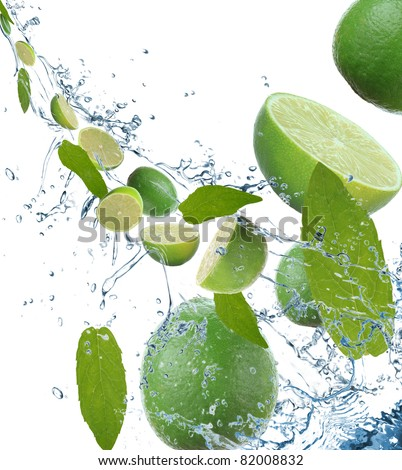 Fresh limes in motion