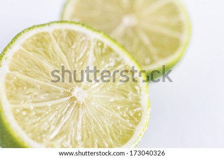 Fresh limes in white background