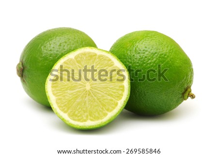 Fresh limes isolated on white - stock photo