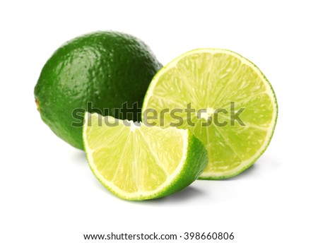 Fresh limes, isolated on white - stock photo