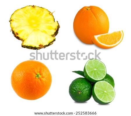Fresh limes, sliced orange, Pineapple juicy slices isolated on white background - stock photo