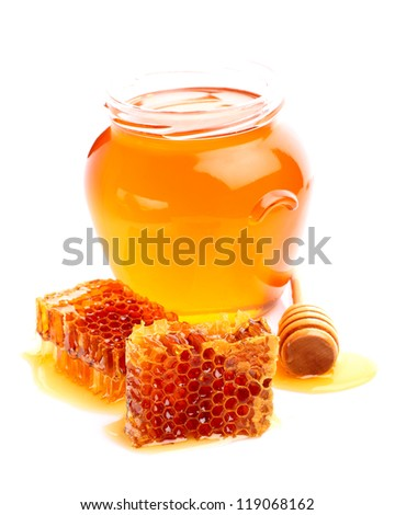 Fresh linden honey on a white background - stock photo