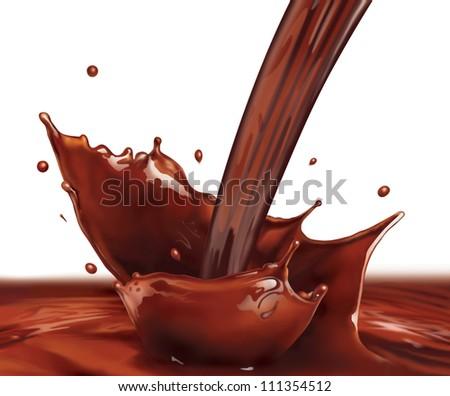 Fresh Liquid Chocolate splash making amazing Waves and Drops (Digital Painting) - stock photo