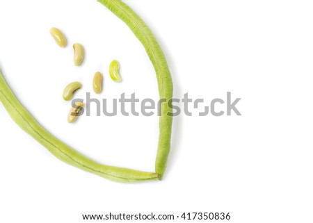 fresh long bean ,cow-pea, Vigna unguiculata subsp, sesquipedalis, on a white background