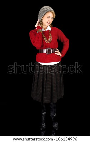 Fresh Looking Young Beauty Dressed for Winter. - stock photo