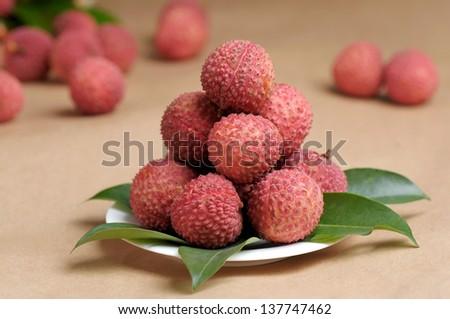fresh lychees - stock photo