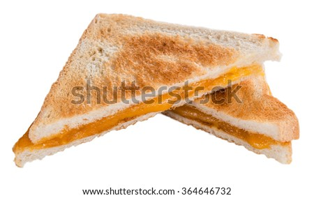 Fresh made Cheese Sandwich isolated on white background (selective focus) - stock photo
