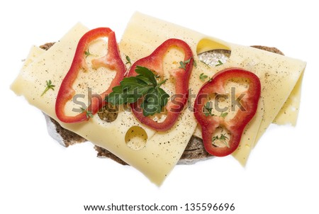 Fresh made Cheese Sandwich with vegetables and herbs isolated on white background
