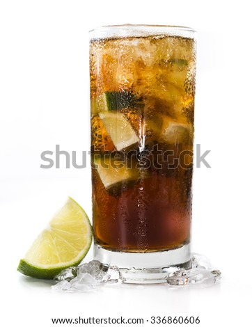 Fresh made Cuba Libre (isolated on white background) with brown rum and lime