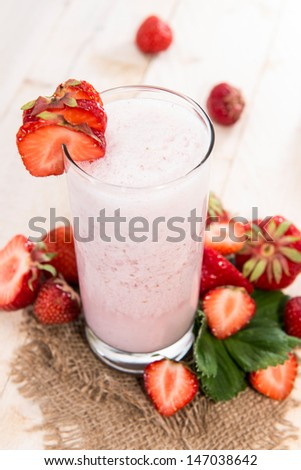 Fresh made Strawberry Milkshake with fruits