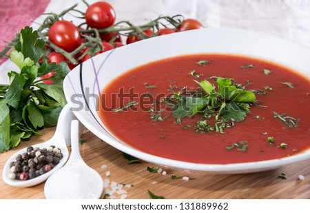 Fresh made Tomato Soup with Parsley