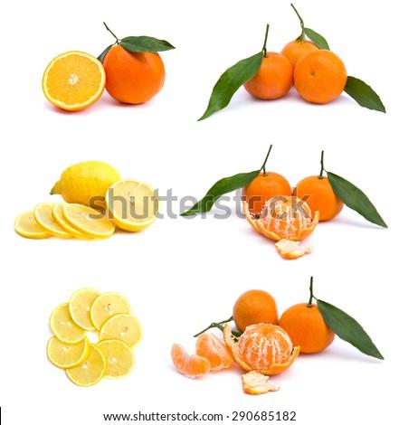 Fresh mandarins, lemons and oranges on white background - stock photo