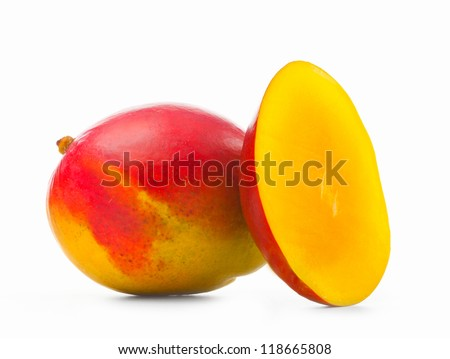 Fresh mango on white background.