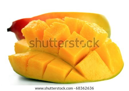 Fresh mangoes isolated on a white background
