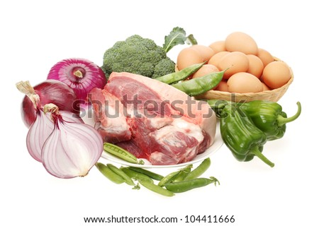 Fresh meat and Vegetables on white background - stock photo