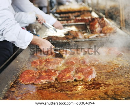 fresh meat food grill man outdoor on food shop - stock photo