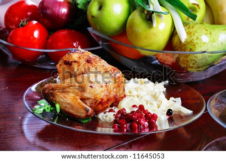 Fresh Meat. Fruits and other foodstuffs. - stock photo