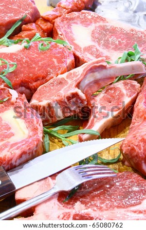 Fresh meat in food restaurant - stock photo