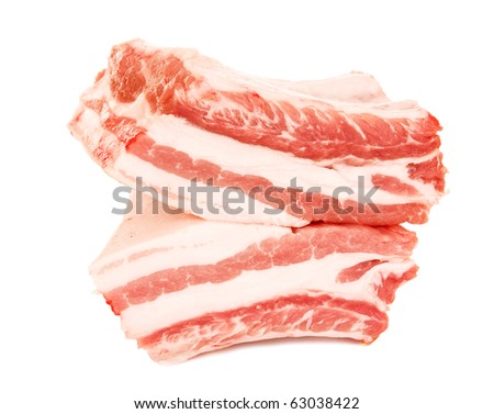 fresh meat ribs on white - stock photo