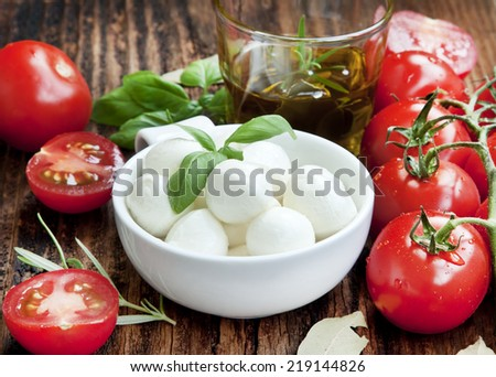 Fresh Mediterranean Ingredients,Mozzarella, Basil, Olive Oil, Tomatoes and Spices for Italian Cooking Recipe on Wooden Table - stock photo