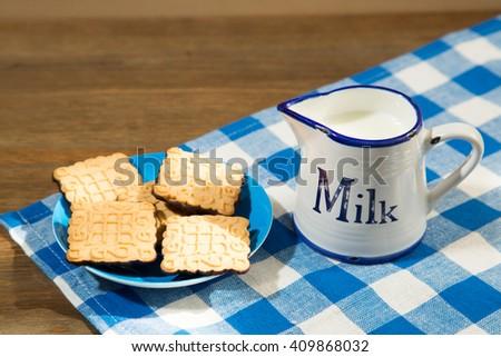 fresh  milk and cookies - stock photo