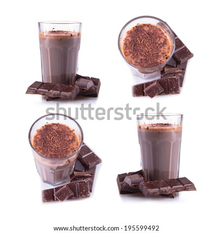 Fresh milk, chocolate drinks collection  isolated on white background, assorted protein cocktail.  - stock photo