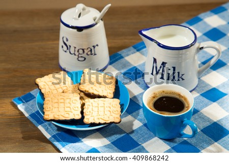 fresh milk, coffee and cookies - stock photo