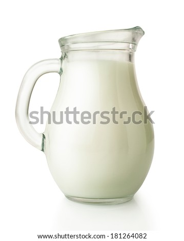 fresh milk in glass jug isolated on white - stock photo