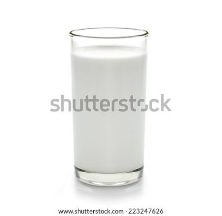 fresh milk in the glass on white background - stock photo