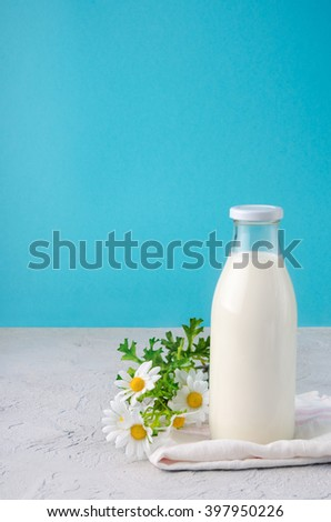 Fresh milk. Rural milk. Milk on blue. A bottle of rustic milk with flowers on a stone table on blue background with copyspace - stock photo