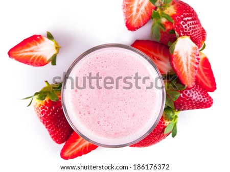 Fresh milk, strawberry drink isolated on white background, assorted protein cocktail with fruits. - stock photo
