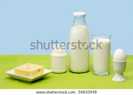 Fresh milk, yogurt, cheese and egg over blue background - stock photo