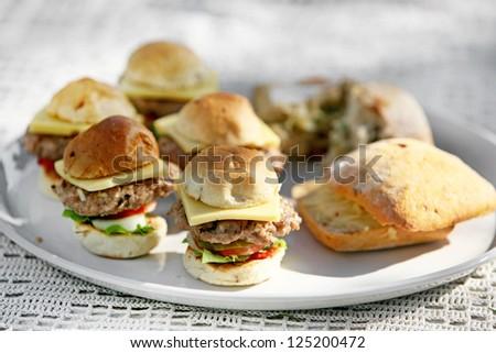fresh mini burgers - stock photo