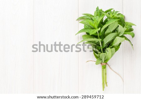 Fresh mint bunch on white wooden table. Top view with copy space - stock photo