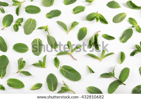Fresh mint leaves pattern, top view - stock photo