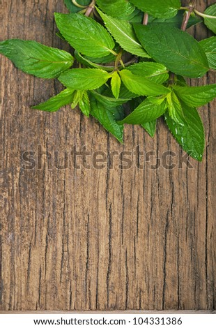 Fresh mint on the wooden texture - stock photo