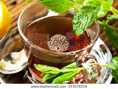 Fresh Mint Tea with Mint Leaves in Transparent Cup