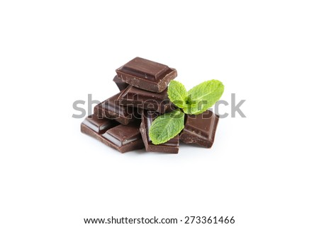 Fresh mint with chocolate isolated on a white