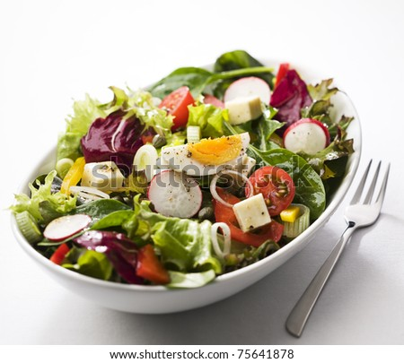 Fresh mixed salad with egg close up - stock photo
