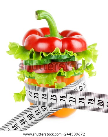 Fresh mixed vegetable sliced on white background. Healthy diet concept - stock photo