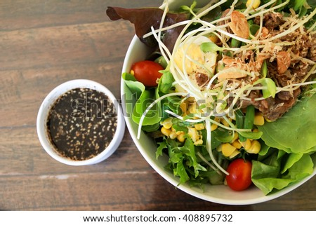 Fresh mixed vegetables salad. Selective focus - stock photo