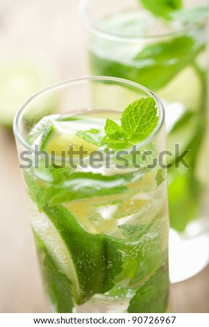 fresh mojito cocktail - stock photo