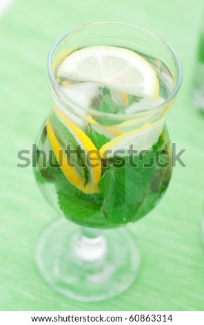 Fresh mojito  cocktail on glass - stock photo