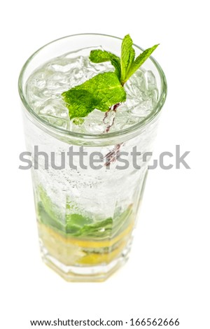 Fresh mojito isolated on white background - stock photo