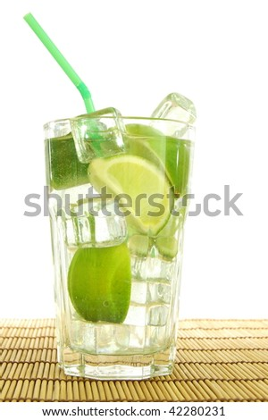 fresh mojito with lemon on white background